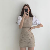 Dress Summer 2020 Apricot blue S M Short skirt singleton  Short sleeve commute Crew neck High waist other Socket other other Others 25-29 years old Retro More than 95% other Other 100% Pure e-commerce (online only)