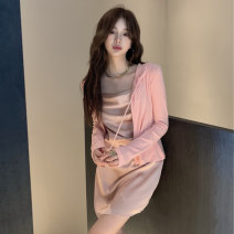 Women's large Spring 2021 Dress Two piece set commute Self cultivation moderate Conjoined Sleeveless Korean version 18-24 years old Short skirt Triacetate fiber (triacetate fiber) 100% Pure e-commerce (online only)