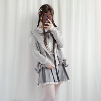 Dress Winter of 2019 Top + skirt + coat Top + skirt top + skirt + coat + shoes S M Middle-skirt Three piece set Long sleeves Sweet Crew neck middle-waisted other Single breasted Princess Dress shirt sleeve Others 18-24 years old Type A Nell shf6 More than 95% other other Other 100% Lolita