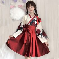 Dress Autumn of 2019 Top + red skirt top + Red Long Skirt Top + black short skirt top + black long skirt S M L Mid length dress Two piece set Long sleeves commute V-neck middle-waisted Decor other other other Others 18-24 years old Type A Nell Retro fold szs632 More than 95% other other Other 100%