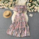 Dress Summer 2020 Orange, black, yellow, pink, blue, purple, sling Average size Middle-skirt singleton  Short sleeve commute One word collar High waist Decor Socket A-line skirt routine Others 18-24 years old Type A Korean version Lotus leaf edge 31% (inclusive) - 50% (inclusive) other other