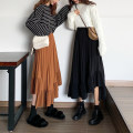 skirt Winter 2020 S,M,L,XL Black, white Mid length dress commute High waist Pleated skirt Solid color Type A Fold, asymmetry, wave, splice Retro