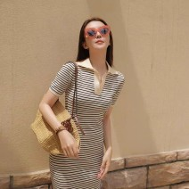 Dress Autumn 2020 Apricot stripe S M L XL Mid length dress singleton  Short sleeve Sweet Polo collar middle-waisted stripe Socket other routine Others 18-24 years old Yimengzi (clothing) 201010Z53 More than 95% other Other 100% Exclusive payment of tmall