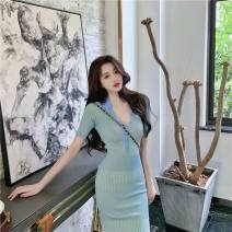 Dress Spring 2021 Green picture S L M XL Mid length dress singleton  Short sleeve street Polo collar middle-waisted Solid color Socket other routine Others 18-24 years old Yimengzi (clothing) 201010X87 More than 95% other Other 100% Exclusive payment of tmall