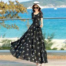 Dress Autumn 2020 black M (recommended 100-115 kg), s (recommended 85-105 kg), l (recommended 110-125 kg), 2XL (recommended 135-145 kg), XL (recommended 125-135 kg), 3XL (recommended 145-160 kg) longuette singleton  Short sleeve