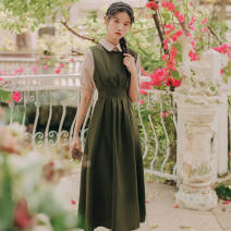Dress Summer 2016 Green two-piece set [short sleeve], black two-piece set [short sleeve], green two-piece set, black two-piece set S,M,L,XL longuette Three piece set Short sleeve Polo collar shirt sleeve straps 18-24 years old Other / other Strap, bow, strap, stitching other other