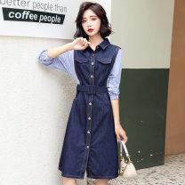 Women's large Autumn 2020 Large L, large XL, m, 2XL Fake two pieces commute Long sleeves lattice Korean version Polo collar routine Bandage 91% (inclusive) - 95% (inclusive) Medium length