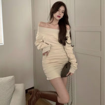 Dress Winter 2020 Grey apricot black S M L Short skirt singleton  Long sleeves commute One word collar High waist Solid color Socket other other Oblique shoulder 18-24 years old Type A Ruomi Korean version 312//xc0824 More than 95% other other Other 100%