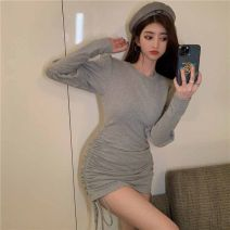 Dress Spring 2021 Grey black S M L Short skirt singleton  Long sleeves commute Crew neck High waist other Socket One pace skirt routine Others 18-24 years old Type H Ruomi Korean version fold AH5760 More than 95% knitting other Other 100%
