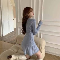 Dress Spring 2021 Gray blue S M L Short skirt singleton  Long sleeves commute V-neck middle-waisted Solid color Socket One pace skirt routine 18-24 years old Type A Ruomi Korean version AH20085 More than 95% other Other 100%