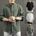 shirt Youth fashion Dust fierce M L XL 2XL 3XL 4XL 5XL White, black, army green, special for freight difference routine stand collar three quarter sleeve easy Other leisure summer CH180551 teenagers Cotton 95% flax 5% Business Casual 2021 Spring 2021 Pure e-commerce (online only)