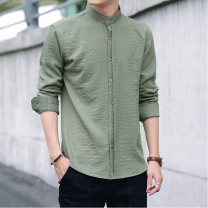 shirt Youth fashion Harfan Road M L XL 2XL 3XL 4XL 5XL Black 9804 white 9804 green 9804 light grey 9804 routine stand collar Long sleeves Super slim Other leisure summer B101-9804-86037 teenagers Cotton 100% Basic public Solid color Autumn of 2019 fold Button decoration