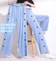 Jeans Spring 2021 trousers High waist Wide legged trousers Thin Cotton elastic denim light colour 5100333-420562-001 Pretend to be amashizheng 51% (inclusive) - 70% (inclusive) summer wathet