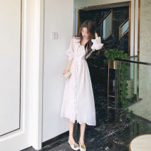 Dress Summer 2021 White grey S M L XL longuette singleton  three quarter sleeve commute Crew neck High waist Solid color Socket A-line skirt puff sleeve 18-24 years old Type A Looking for Zheng Korean version Lace up button 5073-XZ49 More than 95% polyester fiber Other polyester 95% 5%
