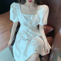 Dress Summer 2021 White dress S M L XL Short skirt singleton  Short sleeve commute square neck High waist Solid color Socket A-line skirt puff sleeve 18-24 years old Type A Looking for Zheng Korean version Button More than 95% polyester fiber Other polyester 95% 5% Pure e-commerce (online only)