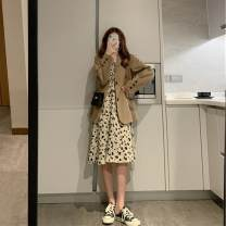 Dress Spring 2021 One piece floral skirt short one piece floral skirt long one piece suit small suit + short floral skirt small suit + Long Floral Skirt S M L XL Mid length dress Two piece set Long sleeves commute V-neck High waist Broken flowers Socket other routine Others 18-24 years old Type A