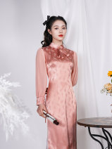 cheongsam Spring 2021 S M L XL Picture color Long sleeves long cheongsam Retro Low slit daily Solid color 25-35 years old Piping Happy forever Old lady other Viscose fiber (viscose fiber) 50% other 50% Same model in shopping mall (sold online and offline) 31% (inclusive) - 50% (inclusive)