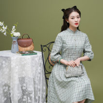 cheongsam Spring 2021 S M L XL Picture color Long sleeves Retro No slits daily Oblique lapel lattice 18-25 years old Piping Bamind  Old lady polyester fiber Polyester 95% polyurethane elastic fiber (spandex) 5% Pure e-commerce (online only)