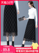 skirt Autumn 2020 M,L,XL,2XL black Mid length dress commute High waist A-line skirt lattice Type A 25-29 years old 8087DSHY 51% (inclusive) - 70% (inclusive) knitting Other / other Viscose Mesh, resin fixation, stitching, lace