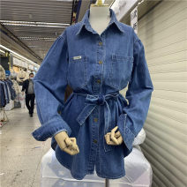 shirt blue Average size Spring 2021 other 96% and above Long sleeves commute Medium length square neck Single row multi button routine other 25-29 years old A lovely butterfly Korean version YPQR27056 Other 100% Pure e-commerce (online only)