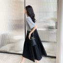 Dress Spring 2021 Black ash S M L Mid length dress Fake two pieces Short sleeve commute Crew neck Loose waist Solid color Socket A-line skirt routine Others 25-29 years old Feng Huang Simplicity Splicing FH4179 More than 95% other other Other 100% Pure e-commerce (online only)