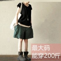 Casual pants Dark green shorts, royal blue shorts, black shorts The average size is about 105 kg, XL120 kg and xxl145 kg Summer 2020 Pant loose  commute routine E7358 Other / other cotton cotton