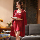 Nightdress Other / other M (for 85-105 kg, l (for 105-120 kg, XL (for 120-135 kg, XXL (for 135-150 kg sexy Nine point sleeve pajamas Middle-skirt summer Solid color youth V-neck Polyester (polyester) Embroidery HG251