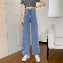 Women's large Spring 2021 Blue black grey 110-250 kg trousers singleton  commute Self cultivation moderate Korean version MKD-SS5554 Mikedo 18-24 years old 51% (inclusive) - 70% (inclusive) Other 100% Pure e-commerce (online only) trousers