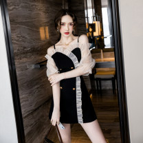 Dress Summer 2021 black S M L XL 2XL Short skirt singleton  elbow sleeve commute One word collar High waist double-breasted One pace skirt puff sleeve camisole 18-24 years old Dongmeifu Button mesh stitching brjn9091 More than 95% other Other 100% Pure e-commerce (online only)