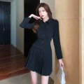 Dress Winter 2020 black S M L XL Short skirt singleton  Long sleeves commute Polo collar High waist Single breasted Pleated skirt Others 18-24 years old Dongmeifu Stitching buttons vergt6158 More than 95% polyester fiber Polyester fiber 95% polyvinyl chloride (PVC) 5% Pure e-commerce (online only)