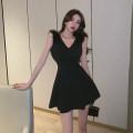 Dress Summer 2021 black S M L Short skirt Sleeveless commute V-neck High waist zipper A-line skirt Others 18-24 years old Dongmeifu bthjk8518 More than 95% polyester fiber Polyester fiber 95% polyvinyl chloride (PVC) 5% Pure e-commerce (online only)