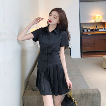 Dress Summer 2021 Black blue S M L XL Short skirt singleton  Short sleeve commute Polo collar High waist Single breasted Pleated skirt Others 18-24 years old Dongmeifu Stitching buttons nryh6205 More than 95% other Other 100% Pure e-commerce (online only)