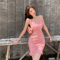 Dress Summer 2021 Comminuted flower S M L Short skirt singleton  Sleeveless commute V-neck High waist zipper Ruffle Skirt camisole 18-24 years old Dongmeifu Lace up printing with ruffles vbrj3631 More than 95% other Other 100% Pure e-commerce (online only)