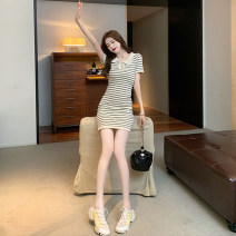 Dress Summer 2021 Picture color S M L XL Short skirt singleton  Short sleeve commute Polo collar High waist stripe Socket One pace skirt Others 18-24 years old Dongmeifu vrgb7170 More than 95% other Other 100% Pure e-commerce (online only)