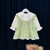 Dress green female Fitzka 80cm 90cm 100cm 110cm 120cm Cotton 80% polyacrylonitrile fiber (acrylic fiber) 20% spring lady Long sleeves Broken flowers cotton A-line skirt Spring 2021 12 months 9 months 18 months 2 years 3 years 4 years 5 years old