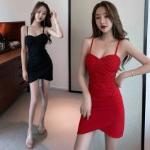 Dress Spring 2021 Black, red S suggests less than 90 kg, m suggests 90-105 kg, l suggests 105-115 kg, XL suggests 115-125 kg Short skirt singleton  Sleeveless 3D, solid