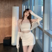 Lace / Chiffon Summer 2020 Black coat black chest apricot buttock skirt apricot chest apricot coat black buttock skirt Average size Short sleeve commute Socket singleton  have cash less than that is registered in the accounts V-neck Solid color routine 18-24 years old Zihanna 9873# Korean version