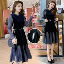 Nursing clothes Black has a belt, blue has a belt M,L,XL,2XL Other / other zipper spring and autumn Long sleeves Medium length Korean version Dress other Side opening polyester A332