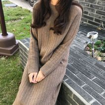 Dress Autumn 2020 Black, apricot, camel, oatmeal longuette singleton  Long sleeves commute Crew neck Loose waist Solid color Socket One pace skirt routine 25-29 years old Type H Korean version More than 95% knitting cotton