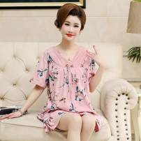 Nightdress A thousand words of books G024 G054 G056 G058 G060 G050 G062 G066 G068 G029 XXXL M L XL XXL Simplicity Short sleeve pajamas Middle-skirt summer Plants and flowers middle age V-neck cotton printing More than 95% 6375151831637515183878711707_ ninety Summer 2021 Pure e-commerce (online only)