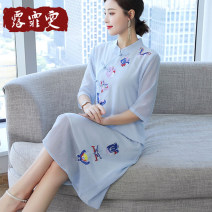 Dress Summer 2021 Light blue lotus white light green M L XL 2XL 3XL longuette singleton  Long sleeves commute stand collar Loose waist Solid color Socket A-line skirt routine Others 30-34 years old Type A Lu feiwen literature Embroidery L210316-09 More than 95% other Other 100%