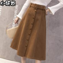 skirt Winter 2020 S,M,L,XL Black, Khaki Mid length dress commute High waist A-line skirt Solid color Type A Wool other Lace up, button, zipper Korean version