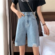 Women's large Summer 2020 blue S [recommended 85-95 kg] m [recommended 95-110 kg] l [recommended 110-125 kg] XL [recommended 125-140 kg] XXL [recommended 140-160 kg] XXL [recommended 160-180 kg] XXXXL [recommended 180-200 kg] Jeans singleton  commute Straight cylinder moderate Solid color dbts5120520