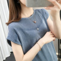 T-shirt Blue, apricot, gray, black, pink S,M,L,XL Spring 2020 Short sleeve Crew neck Straight cylinder other commute cotton 96% and above Korean version youth Shebetsy X3217