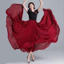 skirt Spring 2021 The length of XXS skirt is 75cm, XS skirt is 80cm, s skirt is 85CM, m skirt is 90cm, l skirt is 95cm, XL skirt is 100cm longuette High waist A-line skirt Other / other Lotus leaf edge