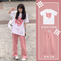 Women's large Summer 2021 Two piece set commute easy moderate Socket Short sleeve Korean version routine 2516khdgr23 Tangyaduo 18-24 years old Other 100% Pure e-commerce (online only) Ninth pants
