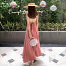 Dress Summer of 2019 Pink S M L XL longuette singleton  Sleeveless Sweet V-neck High waist Solid color other A-line skirt camisole 18-24 years old Type A Shi Qisi Open back bandage TCFC73851 More than 95% other Other 100% princess Pure e-commerce (online only)