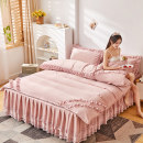 Bedding Set / four piece set / multi piece set Others Quilting Solid color Gaomi Yanli Others 4 pieces High branch Bedskirt bedspread Qualified products Princess style Sanding Reactive Print  YL033255 Thermal storage