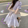 Dress Summer of 2019 S M L XL Short skirt Two piece set Short sleeve commute Crew neck High waist stripe Socket Ruffle Skirt routine Others 18-24 years old Dixi Korean version TPQC64037 71% (inclusive) - 80% (inclusive) polyester fiber Polyester 80% other 20% Pure e-commerce (online only)
