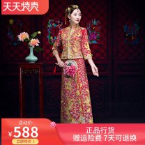 cheongsam Spring of 2019 S,M,L,XL,XXL,XXXL gules three quarter sleeve long cheongsam Straight front other Other / other cotton 71% (inclusive) - 80% (inclusive)